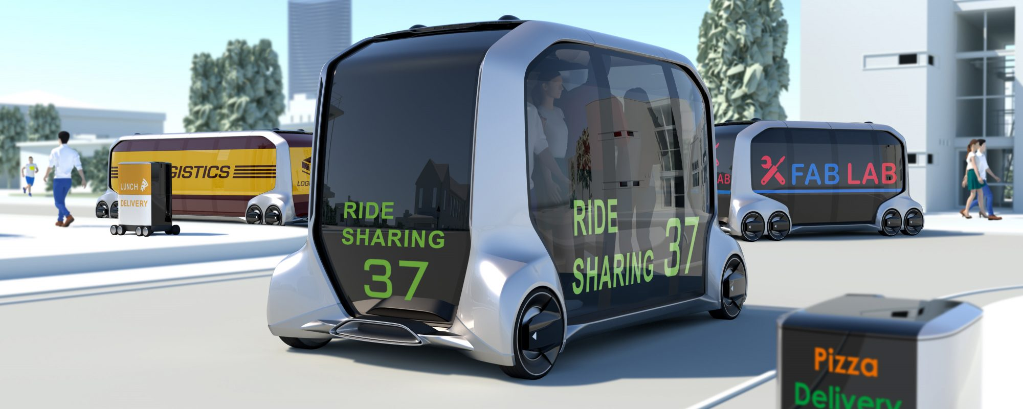 Toyota e-Palette Concept bezorgt pizza zonder bestuurder